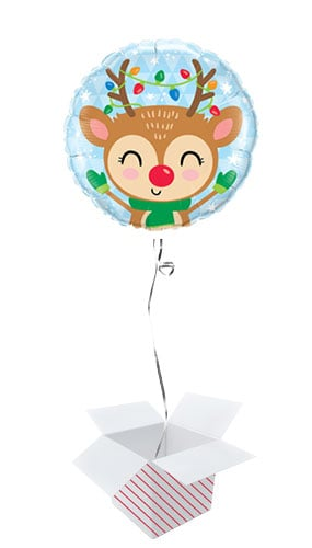 Reindeer & Lights Christmas Round Foil Helium Balloon - Inflated Balloon in a Box