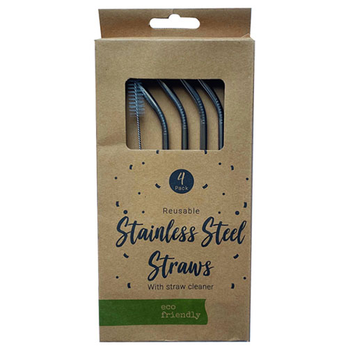 Reusable Stainless Steel Drinking Straws - Pack of 4 Product Image