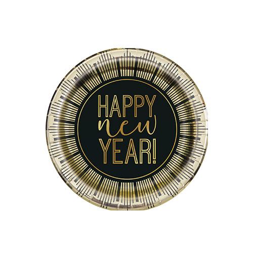 Roaring New Year Metallic Round Paper Plates 17cm - Pack of 8
