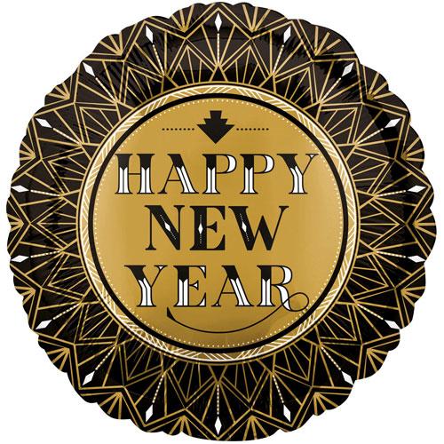 Roaring Twenties Happy New Year Round Foil Helium Balloon 43cm / 17 in