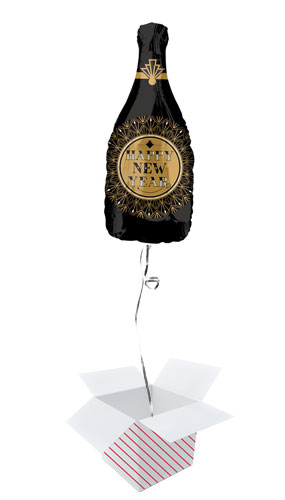 Roaring Twenties Happy New Year Helium Foil Giant Balloon - Inflated Balloon in a Box