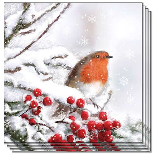 Robin In Snow Design Christmas Luncheon Napkins 3Ply 33cm - Pack of 50 Product Image