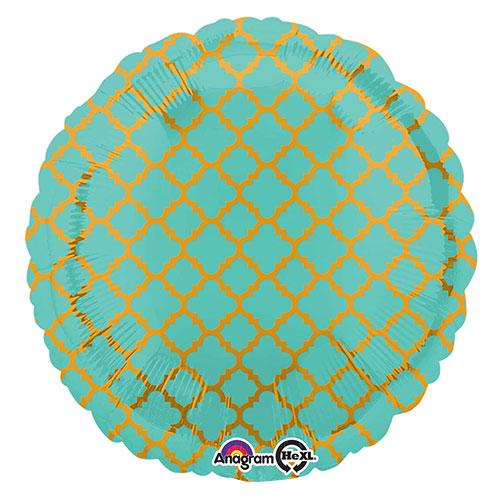Robin's Egg Blue & Gold Quatrefoil Round Foil Helium Balloon 43cm / 17 in