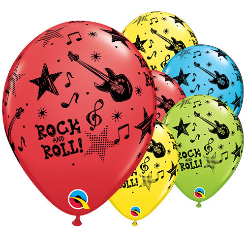 Rock & Roll Stars Assorted Latex Helium Qualatex Balloons 28cm / 11 in - Pack of 25 Product Image