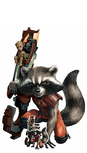 Rocket Raccoon Baby Groot Most Wanted Lifesize Cardboard Cutout 133cm