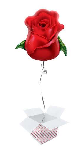 Rose Bud Helium Foil Giant Qualatex Balloon - Inflated Balloon in a Box Product Image