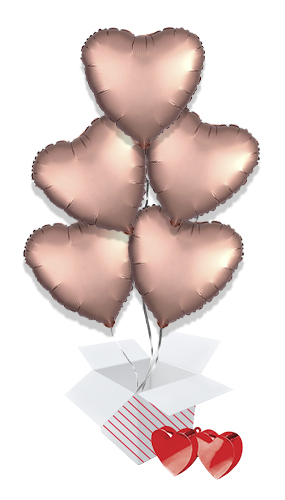 Rose Copper Satin Luxe Heart Foil Helium Valentine's Day Balloon Bouquet - 5 Inflated Balloons In A Box Product Image