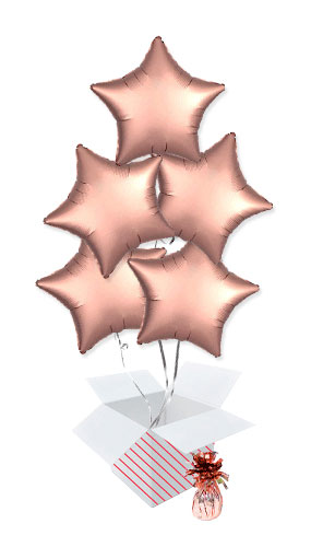 Rose Copper Satin Luxe Star Foil Helium Balloon Bouquet - 5 Inflated Balloons In A Box Product Image