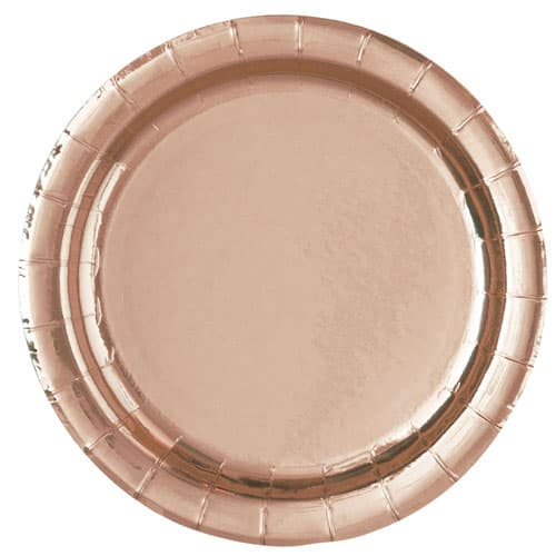Rose Gold Foil Round Paper Plates 22cm - Pack of 8