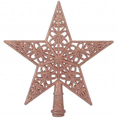 5 Tip Glittered Rose Gold Christmas Tree Top Star 20cm Product Image