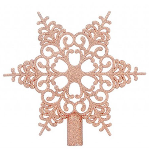 6 Tip Glittered Rose Gold Christmas Tree Top Star 20cm Product Image