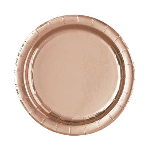 Rose Gold Foil Round Paper Plates 17cm - Pack of 8