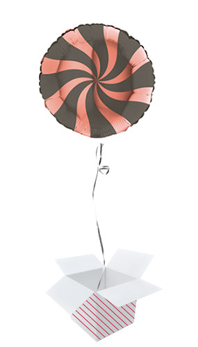 Rose Gold & Platinum Grey Candy Swirl Round Foil Helium Balloon - Inflated Balloon in a Box