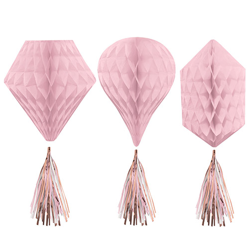 Rose Gold Blush Honeycomb Hanging Decorations with Tassels 30cm - Pack of 3
