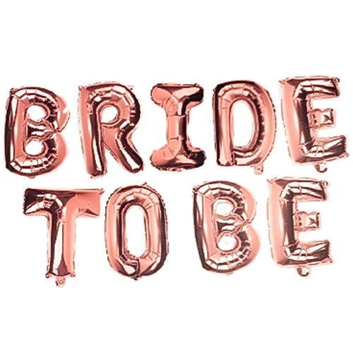 Rose Gold BRIDE TO BE Air Fill Foil Letter Balloon Kit 34cm Product Image