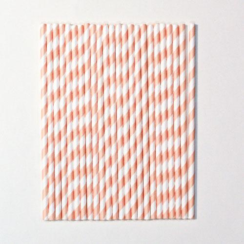 Rose Gold Chevron Premium Quality Striped Paper Straws - Pack of 24