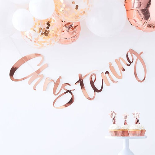 Rose Gold Christening Foiled Cardboard Letter Banner With Tassels 150cm Product Gallery Image