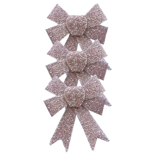 Rose Gold Christmas Tinsel Bows - Pack of 3 Product Image