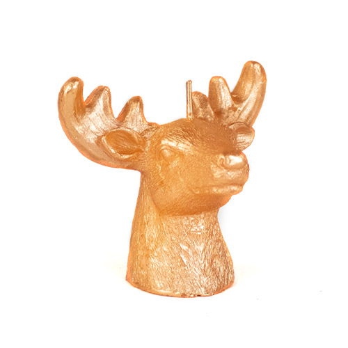 Rose Gold Deer Head Christmas Candle Decoration 9cm