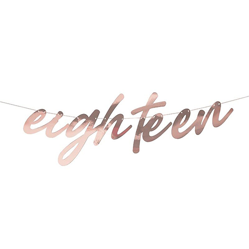 Rose Gold Eighteen Birthday Foil Cardboard Letter Banner 200cm Product Image