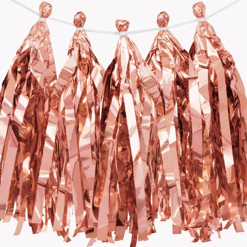 Rose Gold Foil Tassel Garland 274cm