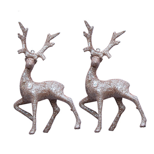 Rose Gold Glitter Christmas Reindeer Decoration 17cm - Pack of 2 Product Image
