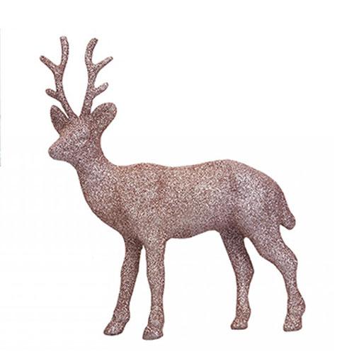 Rose Gold Glitter Reindeer Christmas Decoration 17cm