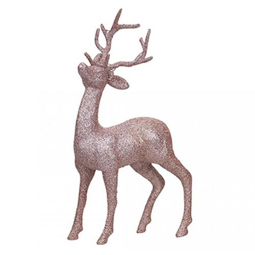 Rose Gold Glitter Reindeer Christmas Decoration 26cm