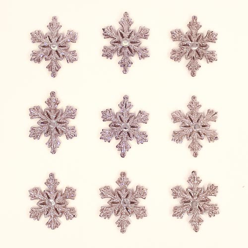 Rose Gold Glittered Christmas Snowflakes 7cm - Pack of 9 Product Image
