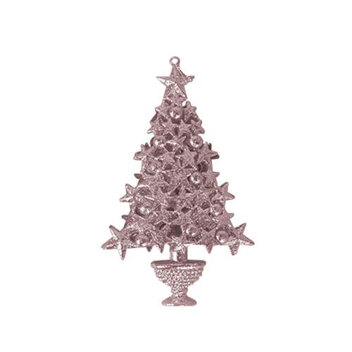 Rose Gold Glittered Christmas Tree Hanging Decoration 16cm Product Image