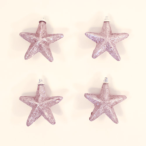 Rose Gold Glittered Star Christmas Tree Decorations 8cm - Pack of 4 Product Image