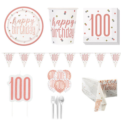 Rose Gold Glitz 100th Birthday 8 Person Deluxe Party Pack