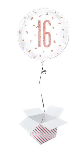 Rose Gold Glitz Age 16 Holographic Round Foil Helium Balloon - Inflated Balloon in a Box