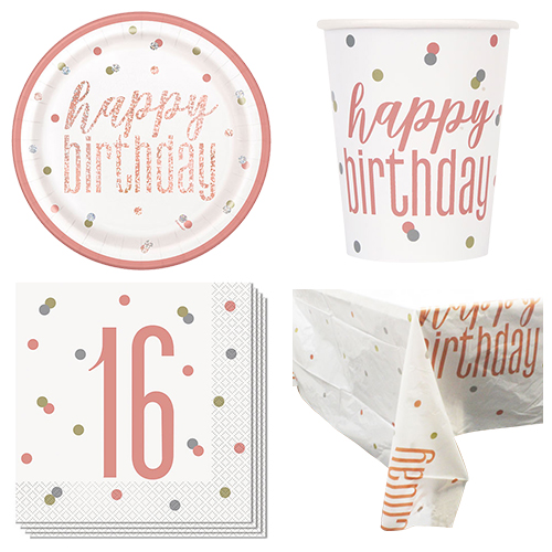 Rose Gold Glitz 16th Birthday 8 Person Value Party Pack