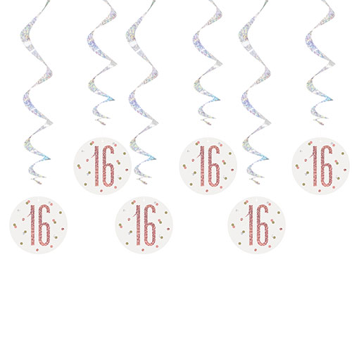 Rose Gold Glitz Age 16 Holographic Hanging Swirl Decorations - Pack of 6 Product Image