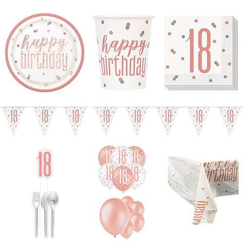 Rose Gold Glitz 18th Birthday 16 Person Deluxe Party Pack