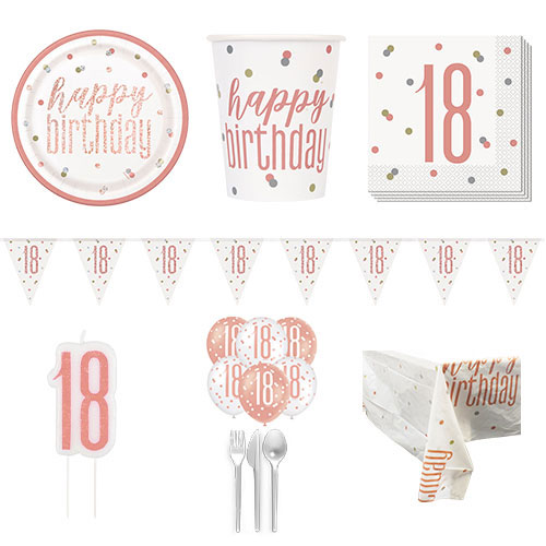 Rose Gold Glitz 18th Birthday 8 Person Deluxe Party Pack