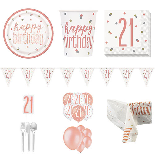 Rose Gold Glitz 21st Birthday 16 Person Deluxe Party Pack Product Image