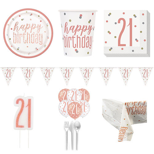 Rose Gold Glitz 21st Birthday 8 Person Deluxe Party Pack