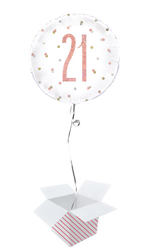 Rose Gold Glitz Age 21 Holographic Round Foil Helium Balloon - Inflated Balloon in a Box