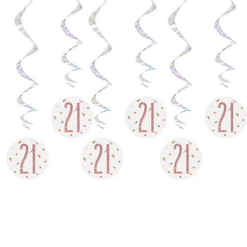 Rose Gold Glitz Age 21 Holographic Hanging Swirl Decorations - Pack of 6 Product Image