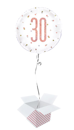 Rose Gold Glitz Age 30 Holographic Round Foil Helium Balloon - Inflated Balloon in a Box Product Image