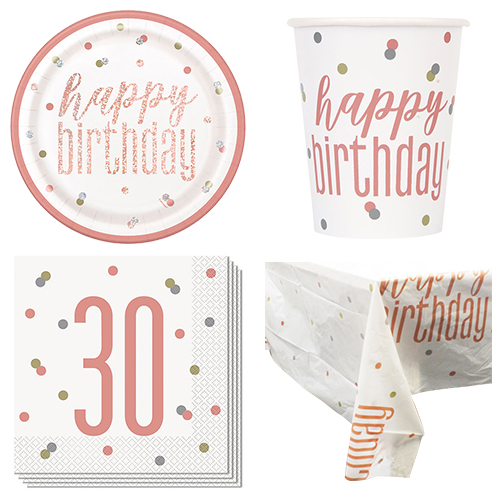 Rose Gold Glitz 30th Birthday 8 Person Value Party Pack
