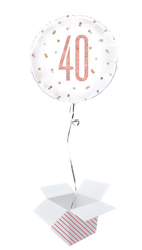 Rose Gold Glitz Age 40 Holographic Round Foil Helium Balloon - Inflated Balloon in a Box