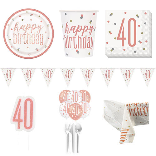 Rose Gold Glitz 40th Birthday 8 Person Deluxe Party Pack