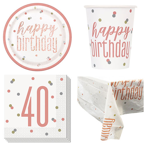 Rose Gold Glitz 40th Birthday 8 Person Value Party Pack