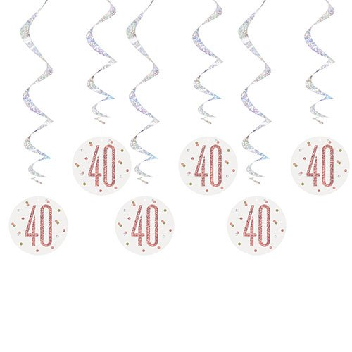 Rose Gold Glitz Age 40 Holographic Hanging Swirl Decorations - Pack of 6