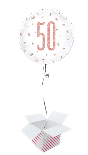 Rose Gold Glitz Age 50 Holographic Round Foil Helium Balloon - Inflated Balloon in a Box