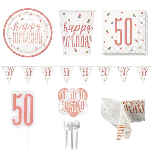 Rose Gold Glitz 50th Birthday 8 Person Deluxe Party Pack