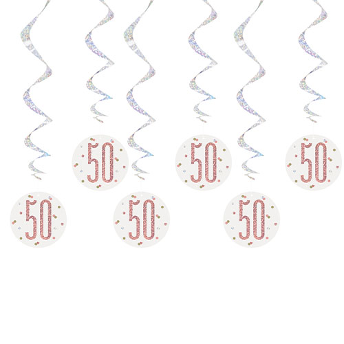 Rose Gold Glitz Age 50 Holographic Hanging Swirl Decorations - Pack of 6 Product Image